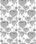 Doodle textured hearts seamless pattern. — Stock Vector