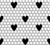 Mesh med hjärtan seamless mönster. — Stockvektor
