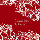Doodle textured hearts background. — Stock Vector
