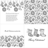 Doodle textured Christmas baubles and socks set. — Vector de stock