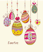 Doodle decorative colorful eggs for Easter. — Stock Vector