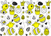 Easter doodle seamless pattern. — Stock Vector