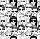 "Doodle ""crowd in sunglasses"" — Stock Vector"