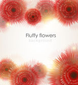 Fluffy bright red shiny flowers with light spectrums background. — Stockvector