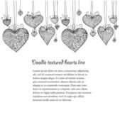 Doodle textured hearts seamless line — Stock Vector