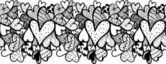Doodle texturerat hjärtan sömlös dekorativ linje. — Stockvektor