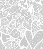 Doodle hearts seamless pattern. — Stock Vector