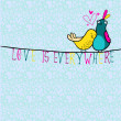 Doodle birds couple among hearts. — Imagen vectorial