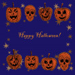 Doodle textured pumpkins background. — Stok Vektör
