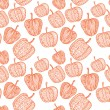 Doodle textured pumpkins seamless pattern. — Stockvectorbeeld