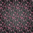 Doodle pink and grey on black hearts brunches background — Vektorgrafik