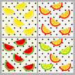 Set of seamless fruit patterns on polka dot background. — Stock Vector