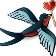 Doodle swallows with heart in tattoo style — Imagen vectorial
