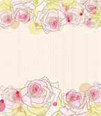 Pink roses on stripy background. — Stock Vector