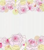 розовые розы на полосатый серый фон. — Cтоковый вектор