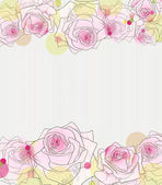 Pink roses on stripy grey background. — Vector de stock