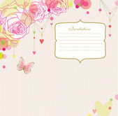 Fondo rosas, mariposa y corazones con un marco. — Vector de stock