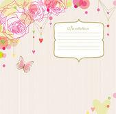 Gül, kelebek ve kalpleri arka plan ile bir çerçeve. — Stok Vektör