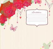 Esquina de rosas rojas sobre fondo rayas. — Vector de stock