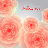 Red-orange roses on grey square background. — Cтоковый вектор