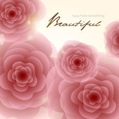 Pale red-pink roses square background — ストックベクタ
