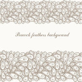 Doodle peacock brown lace-feathers background. — ストックベクタ