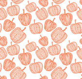 Doodle textured pumpkins seamless pattern. — Stock Vector
