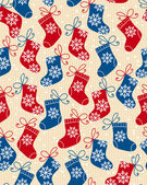 Christmas red and blue socks doodle seamless pattern — Stock Vector