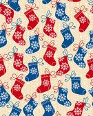 Boże narodzenie czerwony i niebieski skarpetki doodle wzór — Wektor stockowy
