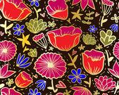 каракули цветы бесшовный фон в стиле хохлома. — Cтоковый вектор