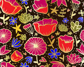 Doodle seamless pattern di fiori in stile khokhloma. — Vettoriale Stock