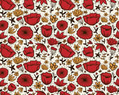 Doodle red flowers seamless pattern. — Stok Vektör