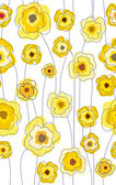 Seamless doodle stick yellow floral pattern. — Stock Vector