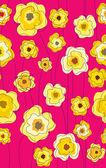 Doodle sem costura padrão floral de pau amarelo — Vetorial Stock