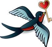 Doodle zwaluwen met hart in tatoeage stijl — Stockvector
