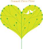 Summer green love tree with a couple birds. — Stock Vector