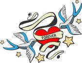 Doodle golondrinas con corazón en estilo tatuaje. — Vector de stock