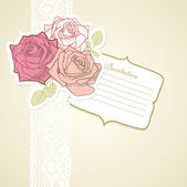 Vintage scrapbook set of roses — Stock Vector