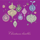 Doodle textured Christmas baubles background. — Stockvektor