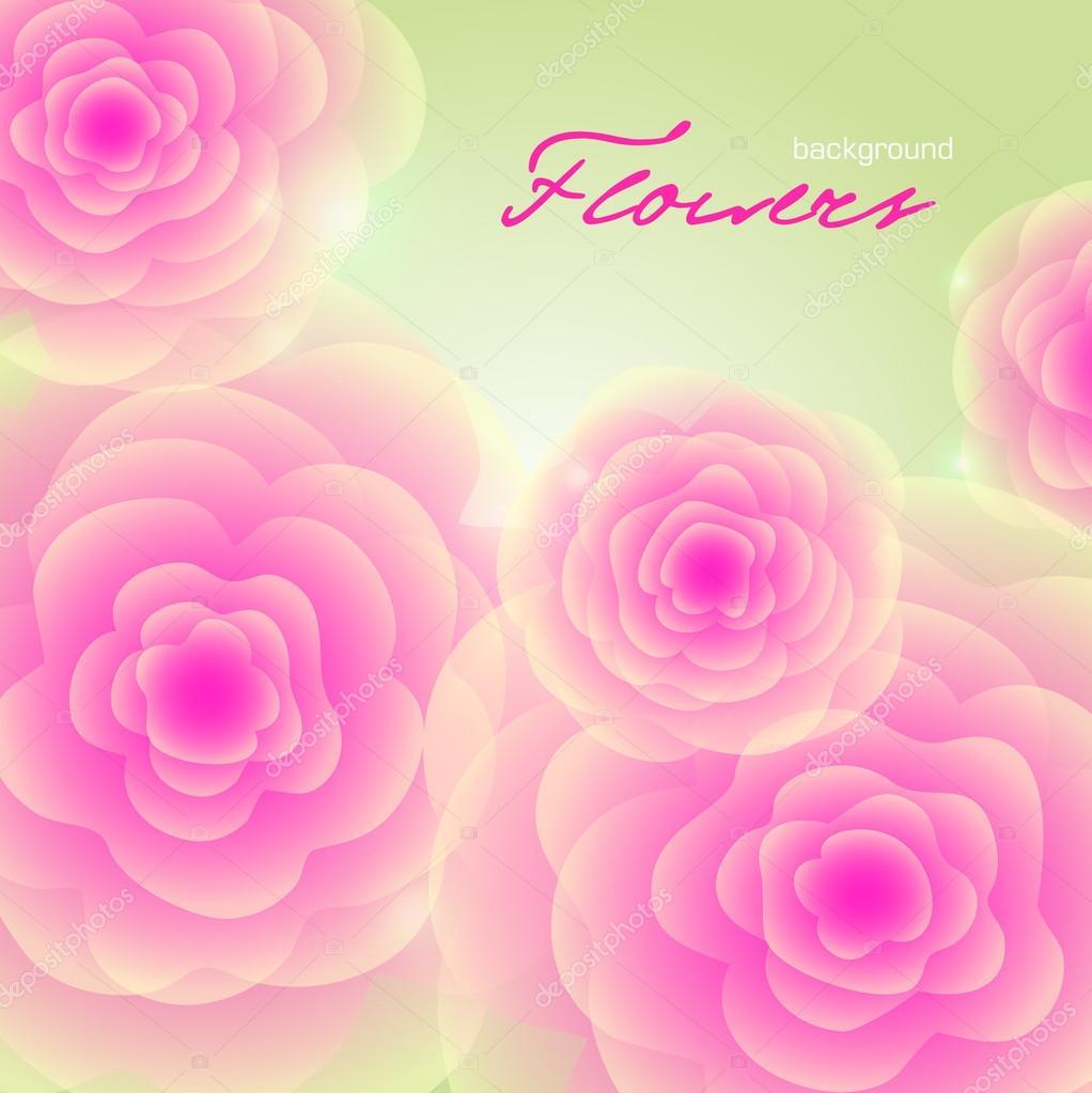 绿色正方形背景明亮粉色玫瑰