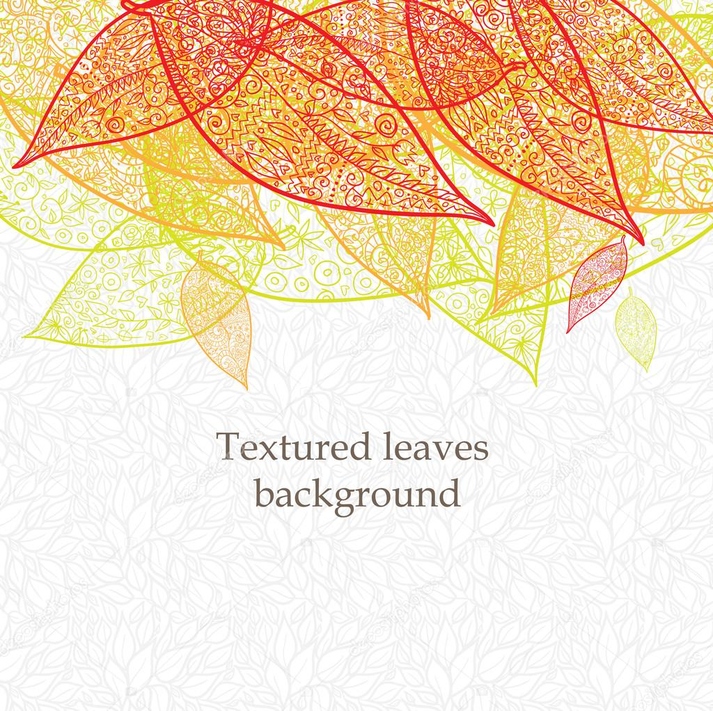 涂鸦纹理的树叶背景 — 矢量图片作者 fearsonline