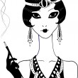 Vector de stock : Art deco girl.