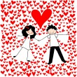 Doodle lovers: a boy and a girl, making snow angels among hearts. — Stock Vector