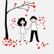 Doodle lovers: a boy and a girl with a tree and leaves-hearts. — Stock vektor