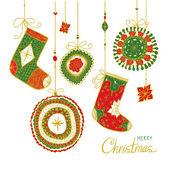 Doodle texturerat jul grannlåt och strumpor bakgrund. — Stockvektor
