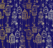Doodle cages with birds seamless pattern. — Stok Vektör