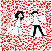 """Doodle liefhebbers: een jongen en een meisje, waardoor de """"sneeuw engelen"""" onder hart. — Stockvector"""