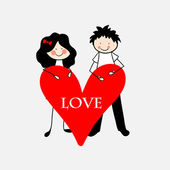 Doodle lovers: a boy and a girl with huge heart. — Stock Vector