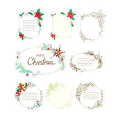 Doodle christmas frames set. — Stock Vector