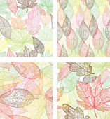 Doodle textured leaves seamless patterns set. — Stock Vector